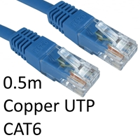 Cat 6 Cables | TARGET RJ45 (M) to RJ45 (M) CAT6 0.5m Blue OEM Moulded Boot Copper UTP Network Cable | ERT-600 BLUE | ServersPlus