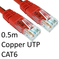 Cat 6 Cables | TARGET RJ45 (M) to RJ45 (M) CAT6 0.5m Red OEM Moulded Boot Copper UTP Network Cable | ERT-600 RED | ServersPlus