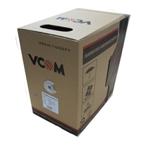 Cat 5e Cables | VCOM CAT5e UTP 305m Grey Retail Packaged Reel Box 24AWG 4 Pairs Solid CCA Network Cable | NC514-305 | ServersPlus