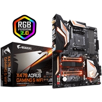 PC Motherboards | GIGABYTE Gigabyte X470 AORUS Gaming 5 WIFI RGB AMD Socket AM4 Ryzen ATX HDMI USB C 3.1 Motherboard | X470 AORUS GAMING 5 WIFI | ServersPlus